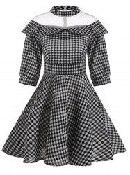 A Line Mesh Panel Plaid Vintage Dress