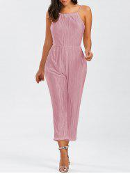 Open Back Pleated Cami Jumpsuit - PINK