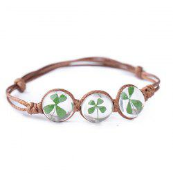 Clover Flower Glass Ball Adjustable Rope Bracelet - GREEN