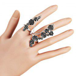Rose Flower Embellished Multi Full Finger Ring - SILVER