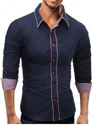Long Sleeve Plaid Edging Slim Fit Shirt