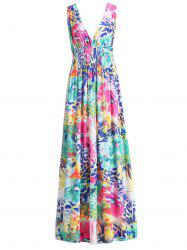Plunging Neck Floral Print Sleeveless Hawaiian Maxi Dress