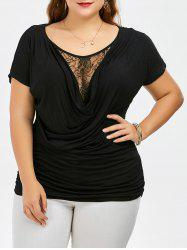 Plus Size Cowl Front Lace Trim T-Shirt
