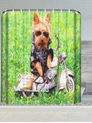Puppy Motorcycle Water Resistant Bathroom Shower Curtain