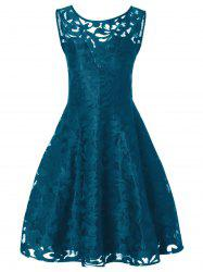 Sheer Lace Plus Size Vintage Party Short Dress - PEACOCK BLUE