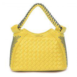Chain Trimmed Rivet Woven Shoulder Bag -