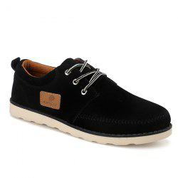 Suede Stitching Tie Up Casual Shoes - BLACK