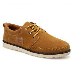 Suede Stitching Tie Up Casual Shoes