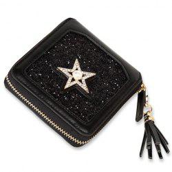 Star Glitter Zip Around Small Wallet