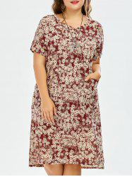 Linen Plus Size Tie Dye Dress With Pockets