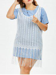 Stripe Plus Size Tee Dress With Fringe Lace Crochet Tank Top