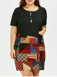 Plus Size Geometric Patched T-Shirt Dress with Pockets