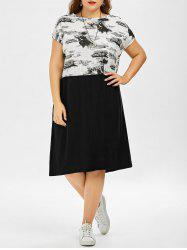 Painting Printed Plus Size Midi Dress