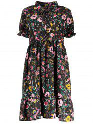 Bow Tie Floral Plus Size Dress
