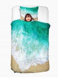 Sea Tide Two Side Print Washable Duvet Cover and Pillowcase