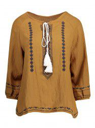 Tassel Embroidered Self Tie Blouse