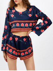 Bell Sleeve Top and Floral Print Shorts