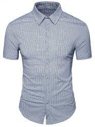 Short Sleeves Windowpane Check Shirt