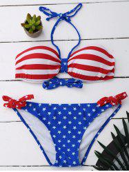 Halter Stars and Stripes Bandeau String Bikini Set