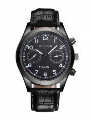 Faux Leather Strap Quartz Analog Watch