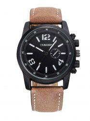 Faux Leather Number Wrist Quartz Watch