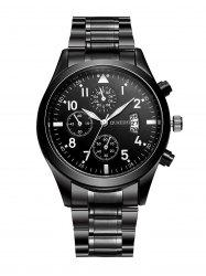 Stainless Steel Date Number Quartz Wrist Watch - BLACK