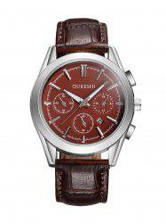 Faux Leather Strap  Date Quartz Watch - BROWN