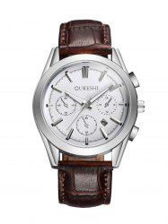 Faux Leather Strap  Date Quartz Watch - WHITE/BROWN