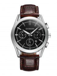Faux Leather Strap  Date Quartz Watch