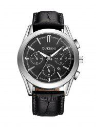 Faux Leather Strap  Date Quartz Watch -