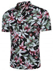 Short Sleeve 3D Florals Print Breathable Shirt - BLACK