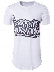 Short Sleeve Graphic Print Longline T-Shirt