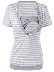 Stripe Nursing T-Shirt with Tube Top