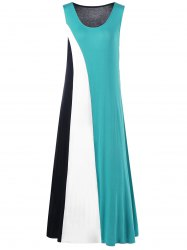 Color Block Maxi Plus Size Tank Dress - COLORMIX