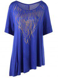 Plus Size Long Graphic Asymmetric T-Shirt