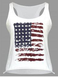 U Neck American Flag Print Tank Top