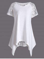 Lace Panel Criss Cross Asymmetric Tee