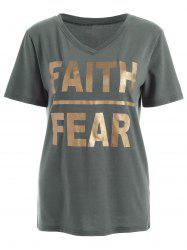 V Neck Faith Fear Graphic Tee