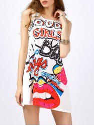 Graphic Lip Print Sleeveless Dress