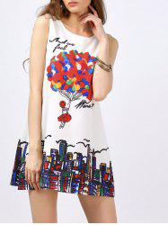 Balloon Print Sleeveless Mini Dress