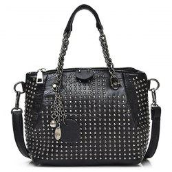 Faux Leather Studded Chain Handbag