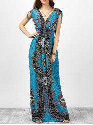 V Neck Sleeveless Ornate Print Empire Waist Maxi Dress - LAKE BLUE