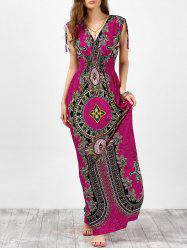 V Neck Sleeveless Ornate Print Empire Waist Maxi Dress - ROSE RED