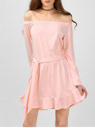 Flounce Belted Off Shoulder Short Dress with Sleeves