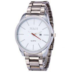 Alloy Strap Date Quartz Wrist Watch