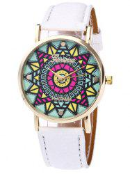 Faux Leather Strap Madala Face Quartz Watch