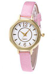 Faux Leather Glitter Strap Quartz Watch