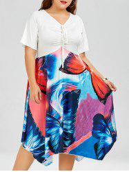 Butterfly Print Plus Size Midi Dress With Front Bowtie