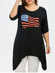 Long Plus Size Cold Shoulder American Flag T-Shirt