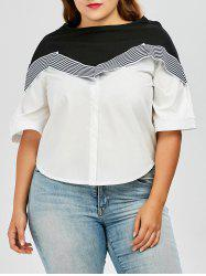 Plus Size Colorblock Stripe Flare Sleeve T-Shirt